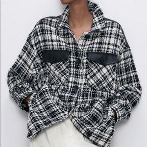 Zara Long Combination Material oversized overshirt